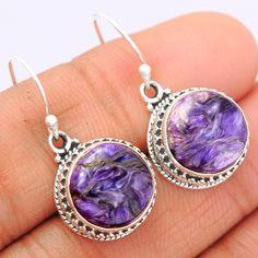 Charoite 925 Sterling Silver Earrings Jewelry CROE136 - JJDesignerJewelry