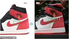 47b2137c79f Fake Air Jordan 1 Track Red 6 Rings Spotted- Quick Ways To Identify Them