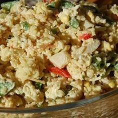 Mayonnaise and Worcestershire sauce create a nippy dressing for this rice and chicken salad. Water chestnuts and celery add a bit of crunch. If you're careful about the amount of dressing you stir in, this salad can be chilled and unmolded onto a plate.