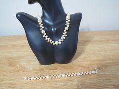 Handmade pink Genuine  freshwater pearl necklace and bracelet special occasions. #Handmade