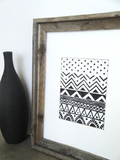 Print - Geometric Tribal Pattern Linocut / 8 x 10 Wall Art / Black, Gray, Gold, Silver, Blue, Green, Yellow, Red