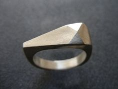 Triangle ring Faceted ring Geometric ring Sterling by EVANORY