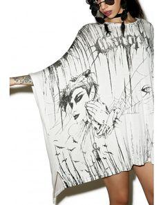 #DollsKill #lookbook #photoshoot #model #Widow Assimilate #oversized #top #shirt #dress #white #black #dark