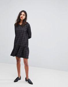 Vero Moda check print frill hem mini dress 482db42a9d5
