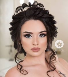 Bridal Makeup Images, Simple Bridal Makeup, Wedding Makeup Looks, Wedding Hair And Makeup, Hair Makeup, Wedding Bun Hairstyles, Elegant Hairstyles, Updo Styles, Long Hair Styles
