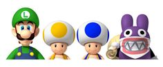 New Super Luigi (Wii U) Artwork - From left to right - Luigi, Yellow Toad, Blue Toad and Nabbit