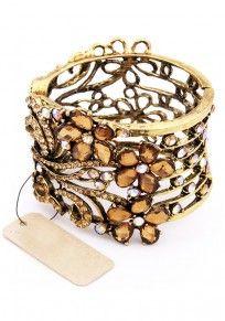 Exquisite Rhinestone Flower Bronze Hollow-out Bangle Bracelet