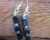 Black glass stacked earrings