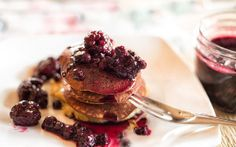 Banana Pancakes With Berry Compote Clean and paleo