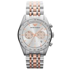3b6f8e4e5fed Silver Dial Chronograph Two Tone Stainless Steel Men s Watch Emporio Armani