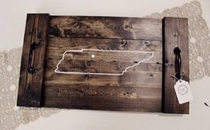 White Tennessee Outline Wooden Pallet Tray with Star on