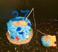 Fishing themed Happy Birthday Cake