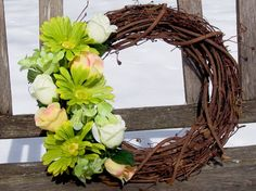 Grapevine Wreath, Green, Yellow, Ivory.  Beautiful combination of colors.  Roses.  Door wreath.  Greenery, color of the year.  www.etsy.com/shop/NaturesCraftSupply