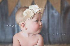 Baby Girl Headband - Vintage Headband - Shabby Chic Headband - Newborn Headband - Infant Headband - Baby Headband - Toddler Headband