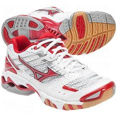 Mizuno Women's Wave Lightning 7 Volleyball Shoe,White/Red,7.5 « Shoe Adds for your Closet