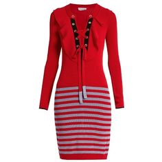 Sonia Rykiel Lace-up ribbed-knit striped dress ($438) ❤ liked on Polyvore featuring dresses, ribbed dress, lace up front dress, red ribbed dress, lace front dress and laced dress