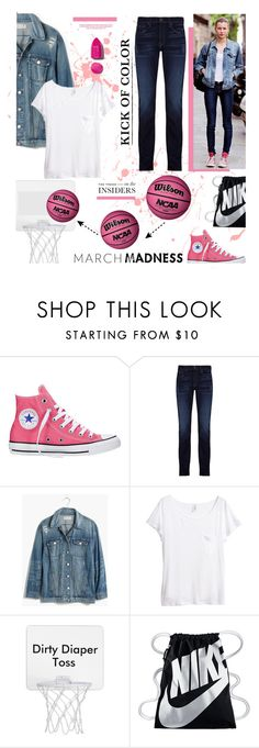 """""""March Madness: High Tops"""" by edenslove on Polyvore featuring Converse, J Brand, Madewell, H&M, NIKE, NARS Cosmetics and contestentry"""