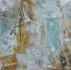 "Image of Original art by Melissa Payne Baker - 6""x6"" Cross in Aqua"