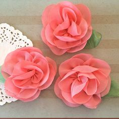 """Light Coral Pink Mini Camellia Flower with leaf (3 pcs) Small 2.5"""" Coral Fabric flower embellishment  headband flower applique accent flower by isakayboutique on Etsy https://www.etsy.com/listing/228354291/light-coral-pink-mini-camellia-flower"""