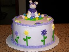Made this cake for Easter.  Sculpted the bunny from fondant, flowers as well.  The frosting is buttercream.