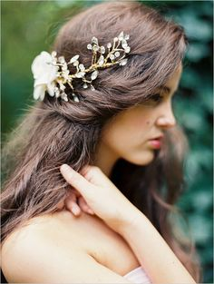 Gold Branch Bridal Headpiece | Erich McVey | Christmas Tree Farm Wedding Ideas in Green, White, and Gold