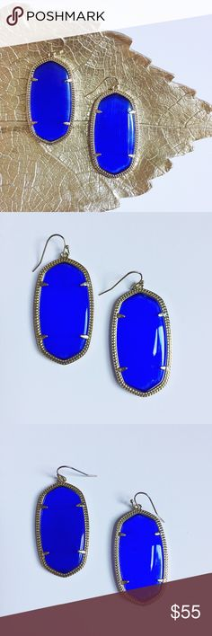 "Kendra Scott Danielle Earrings Kendra Scott Danielle Earrings in cobalt and 14k gold plated hardware.  Add a pop of color to any outfit!  Stones have a beautiful cut to catch the light, very hard to capture on camera. Pre-loved but in excellent condition.  No damage or signs of wear.  Authentic, no trades.  Measurements: 1"" W x 2"" L Kendra Scott Jewelry Earrings"