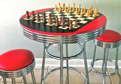 """LOVE this! I've been crushing on bright red AND chess lately, so this is perfect. I've also been a die hard 50s retro fan, so this has my name written all over it. I can almost hear the Fonz's approval: """"Ayyyyyyyy!"""""""
