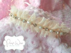 Newborn Halo Tie Back Headband, Baby Rhinestone and Pearl Headband