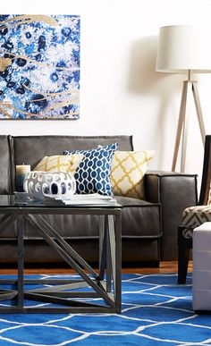 Living Room ~ decorated with blue, gold and silver.