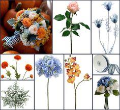 Orange and Blue Wedding Flowers ~ Amanda's Inspiration Board