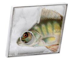 GAÁL GYÖNGYVÉR - HU , Hungary: 'Fish dinner under the Ice' brooch -silver, quartz, paper  41x37x8mm  2010