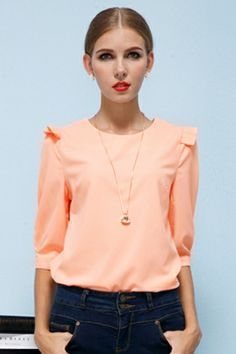 This color wouldnt work on me, but love tuis blouse.    Elegant Pure Color Chiffon Blouse