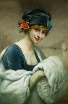 Young Girl with Fur Muff, Francois Martin-Kavel, French painter ( the beauty of this painting is equivalent to the Mona Lisa. X marilyn ) Photo Vintage, Vintage Images, Vintage Prints, Vintage Art, Vintage Ladies, Francois Martin, Arte Fashion, Frida Art, Illustration Art