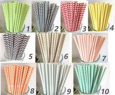100 Colored Chevron Paper Drinking Straws-Cake Pop Sticks Decorativ Drinking Straws for Wedding Easter Chirtmas Wave Blue Yellow Navy Straws. $12.95, via Etsy.