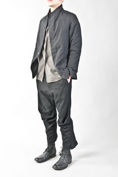 paul Harnden - cotton & wool charcoal striped pocket blazer