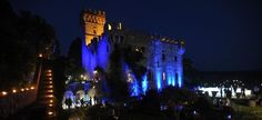 #tuscany #wedding #castle- Lights in style with chosen colours for front castle facade
