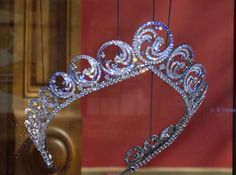 Oceans Tiara by Van Cleef and Arpels. A wedding gift from Prince Albert of Monaco to his bride Charlene in 2011.  (On display at the  Oceanographic Museum in Monaco. Photo by scarf addict.)