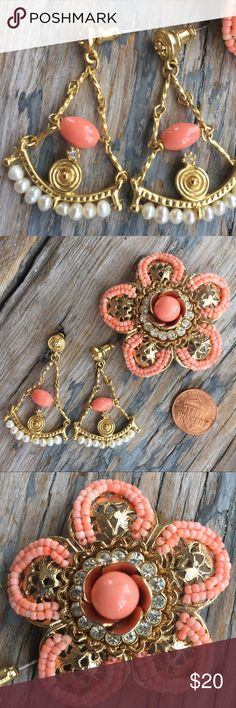 J. Crew Earrings EUC. These are vintage J. Crew gold toned earrings with Coral beads, pearls, and crystal stones. These look great with a tan. I am also selling a matching brooch that looks so pretty in an updo too. J. Crew Jewelry Earrings