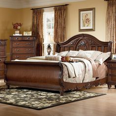 Southern Heritage Cherry Sleigh Bed.  Hayneedle.com  $1290.