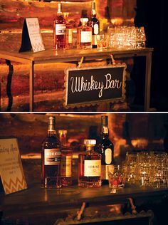 A great idea for a party or a wedding: a whisky bar! / Una idea genial para una fiesta o una boda: una barra de whiskys!