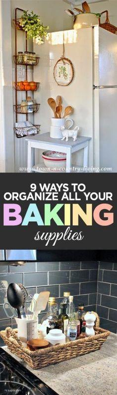 Baking supplies, DIY home, baking tips, kitchen organization, popular pin, DIY organization, organizing, organized home, clutter free kitchen