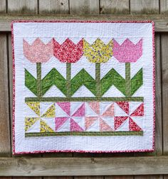Tulip quilted wall hanging.