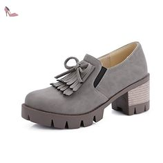 VogueZone009 Femme Rond Lacet Pu Cuir Couleur Unie à Talon Correct Chaussures Légeres, Gris, 42 - Chaussures voguezone009 (*Partner-Link)