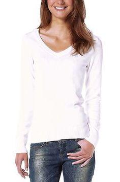 Damen Pullover Sommerpullover V-Ausschnitt Weiss Neu Gr.36 € 15,90