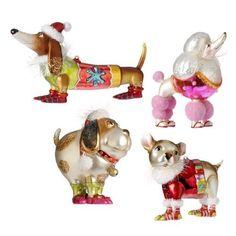 "5""  Multicolored Glass Dog Ornaments  Price : $39.95 http://www.perfectlyfestive.com/RAZ-Imports-Multicolored-Glass-Ornaments/dp/B00CXHJU3G"