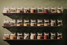 glass jars in rows; mine would be recessed so not quite so much play of light on jars.