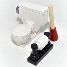 Lego Furnishings Toilet Bowl Set w Plunger Paper Dispenser House Custom   eBay