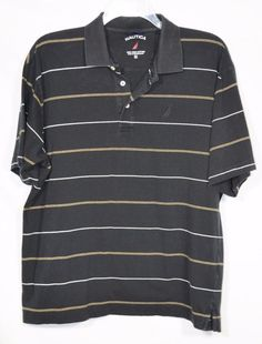 NAUTICA Mens Black Striped Polo Shirt Large Short Sleeve 100% Pima Cotton #Nautica #PoloRugby