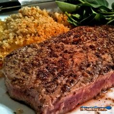 Pan Seared Lemon Pepper Tuna Steaks {For really expensive tuna steaks Pan seared lemon pepper tuna steaks seasoned with homemade lemon pepper seasoning, seared in garlic and butter cooked medium rare to enhance the flavor. Seared Tuna Steak Recipe, Ahi Tuna Recipe, Cooking Tuna Steaks, Grilled Tuna Steaks, Healthy Steak Recipes, Tuna Steak Recipes, Fish Recipes, Seafood Recipes, Cooking Recipes