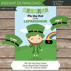 Pin the Hat on the Leprechaun St. Patricks Day Printable Party Game. A fun game for the kids - just print & play! THREE GAME POSTER SIZES INCLUDED: 11X17 18X24 20x30  You can find our other St. Patricks Day printables here: http://etsy.me/1TwpkLq  IMPORTANT NOTES BEFORE PURCHASE: >This is a digital file. You will receive no printed product. >You can print the Game Poster at a copy centre or photo lab. This file has the wording Pin the Hat on the Leprechaun. The follow...